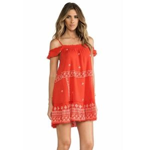 Free People Embroidered Cold Shoulder Mini Dress